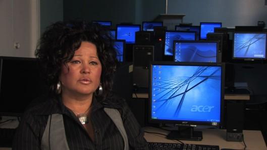Darlene Solomon, General Manager of the Anishinabek Information Technology Centre, after color grading