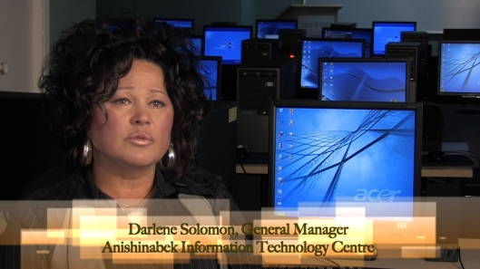 Darlene Solomon, General Manager of the Anishinabek Information Technology Centre, after color grading