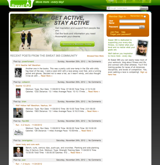 Sweat365.com Homepage